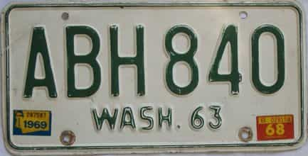 1969 Washington (Single) license plate for sale
