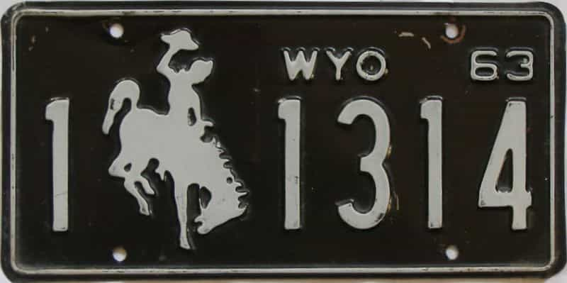 1963 WY (Single) license plate for sale
