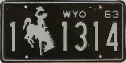 1963 Wyoming (Single) license plate for sale
