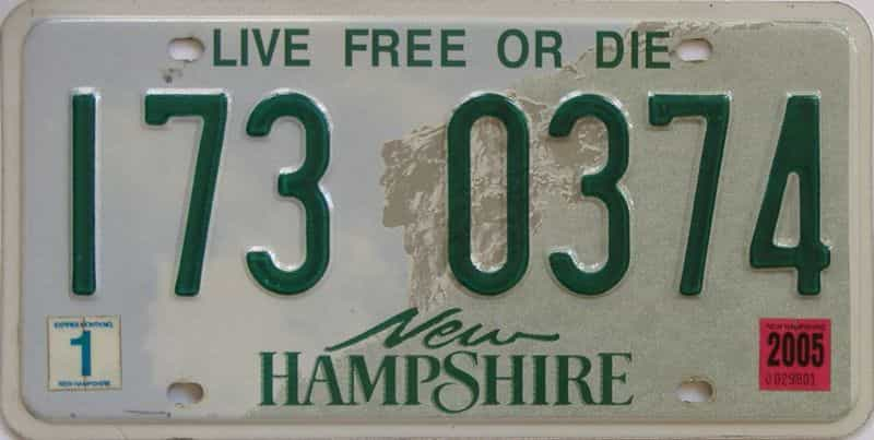 2005 New Hampshire (Single) license plate for sale