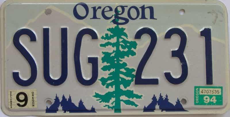 1994 Oregon (Natural Single) license plate for sale