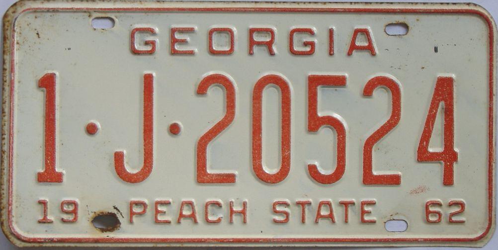 YOM 1962 Georgia license plate for sale