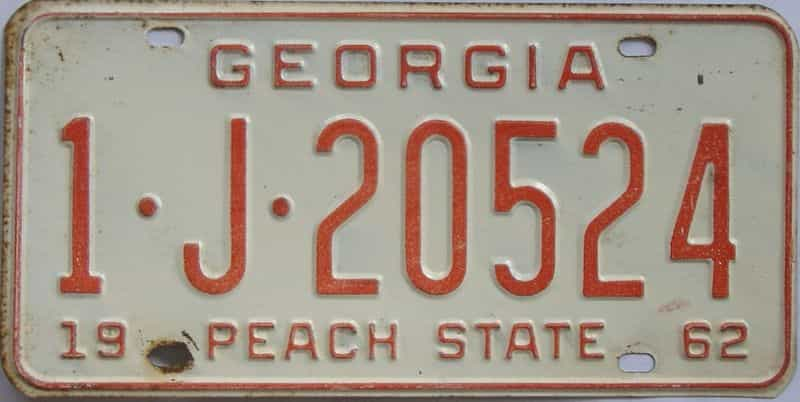 YOM 1962 GA license plate for sale