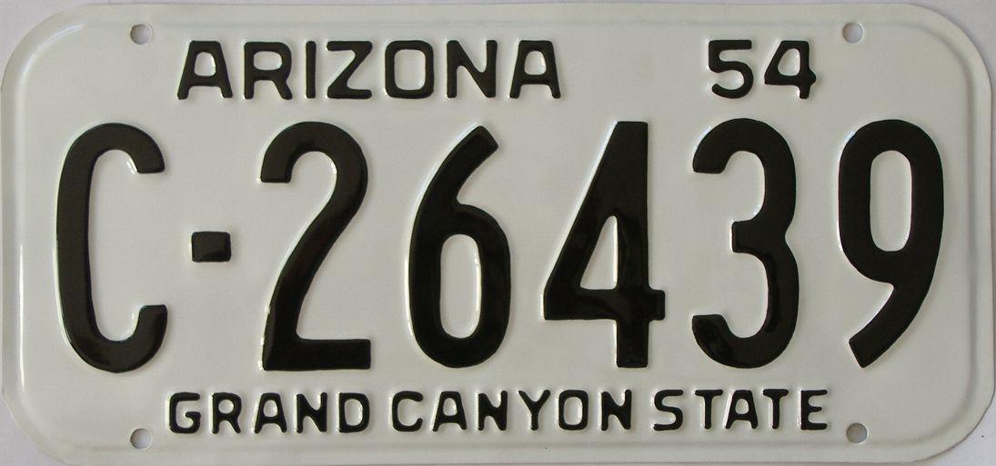 RESTORED 1954 Arizona (Single) license plate for sale
