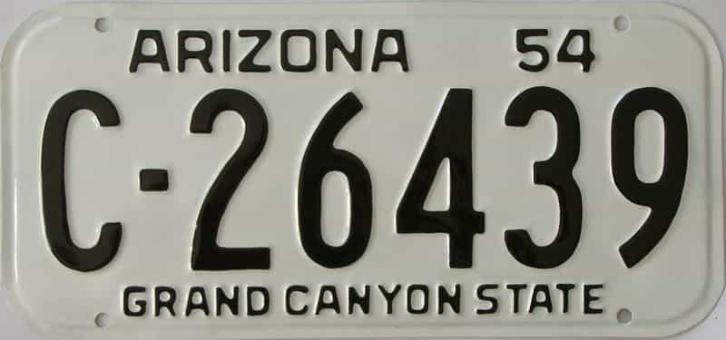 RESTORED 1954 Arizona (Single) license plate for sale