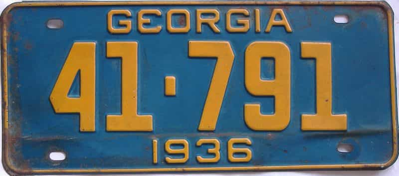 YOM 1936 GA (Single) license plate for sale