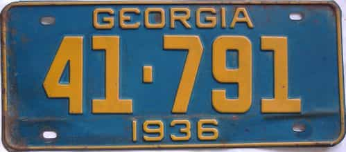 YOM 1936 Georgia (Single) license plate for sale