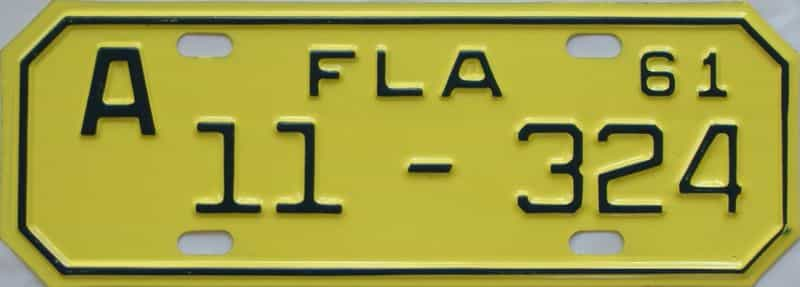 1961 FL (Motorcycle) license plate for sale