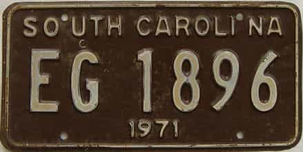 1971 South Carolina (Single) license plate for sale