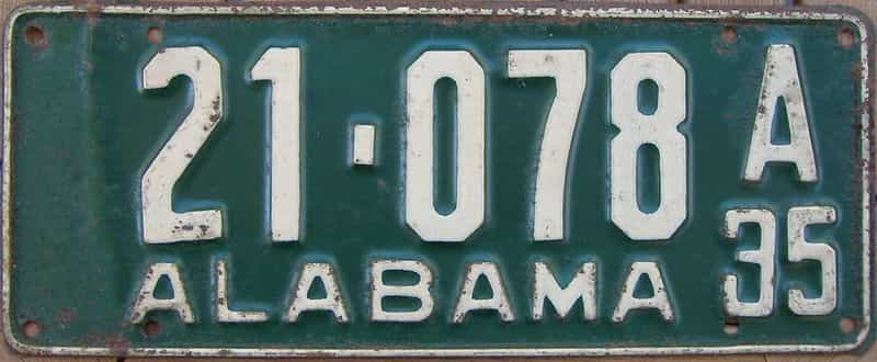 1935 Alabama license plate for sale