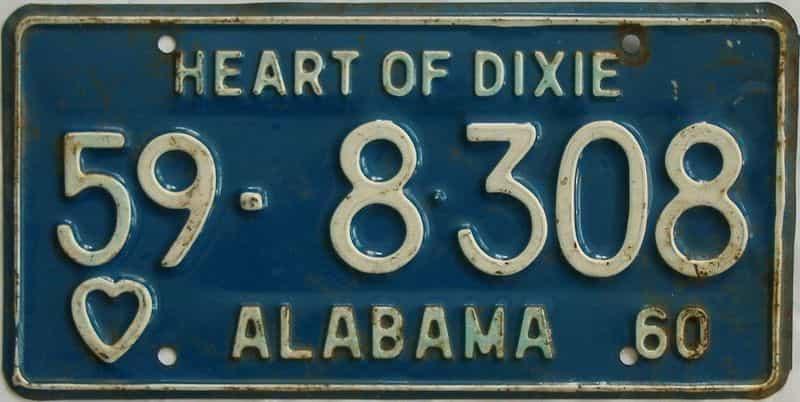 1960 Alabama (Single) license plate for sale