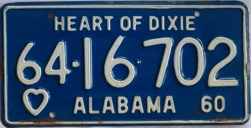 1960 Alabama (Single) license plate for sale