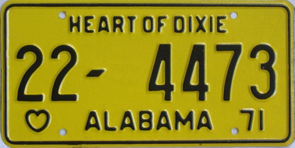 1971 Alabama license plate for sale