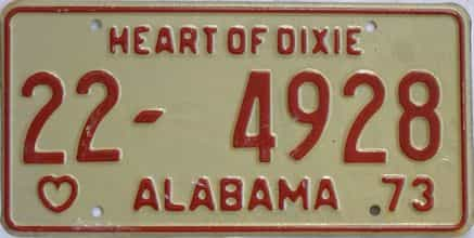 1973 Alabama license plate for sale