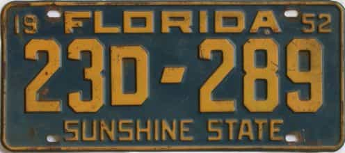 1952 Florida license plate for sale