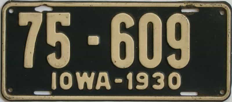 1930 Iowa (Single) license plate for sale