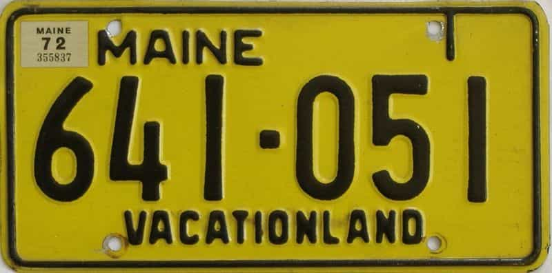 1972 ME (Single) license plate for sale