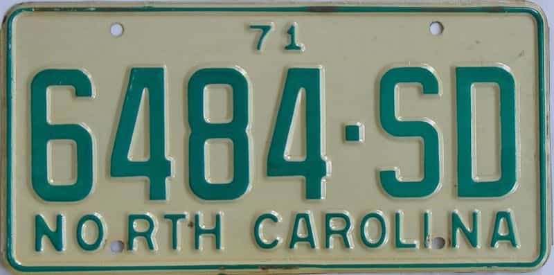1971 North Carolina (Truck) license plate for sale