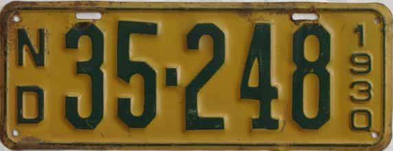 1930 North Dakota (Single) license plate for sale