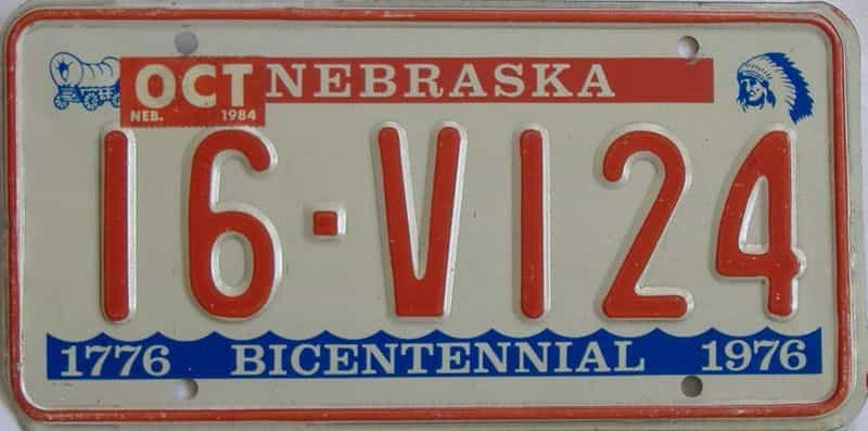 1984 NE (Single) license plate for sale