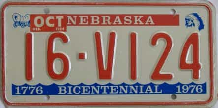 1984 Nebraska (Single) license plate for sale