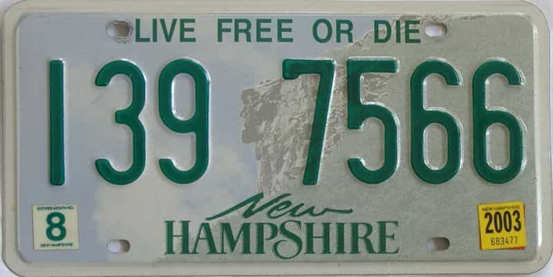 2003 New Hampshire (Single) license plate for sale
