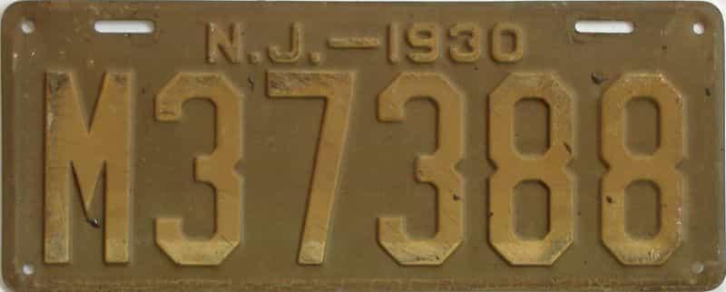 1930 NJ (Single) license plate for sale