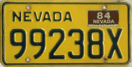 1984 Nevada (Non Passenger) license plate for sale