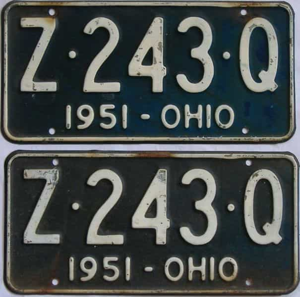 1951 OH (Pair) license plate for sale