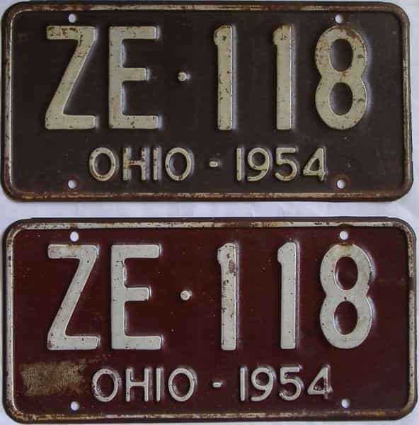 1954 Ohio (Pair) license plate for sale
