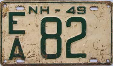1949 New Hampshire (Single) license plate for sale