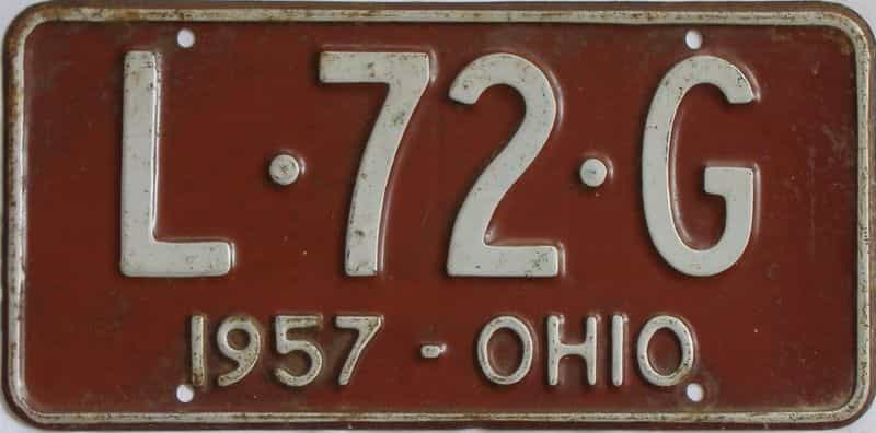 1957 Ohio (Single) license plate for sale