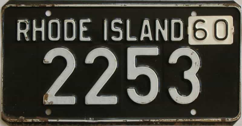 1960 RI (Single) license plate for sale