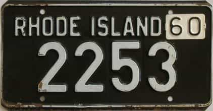 1960 Rhode Island (Single) license plate for sale