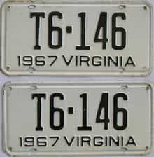1967 Virginia (Truck) license plate for sale