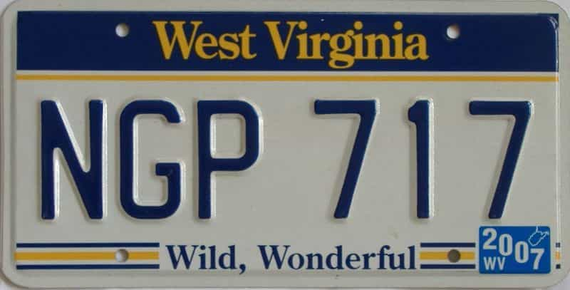 2007 WV license plate for sale