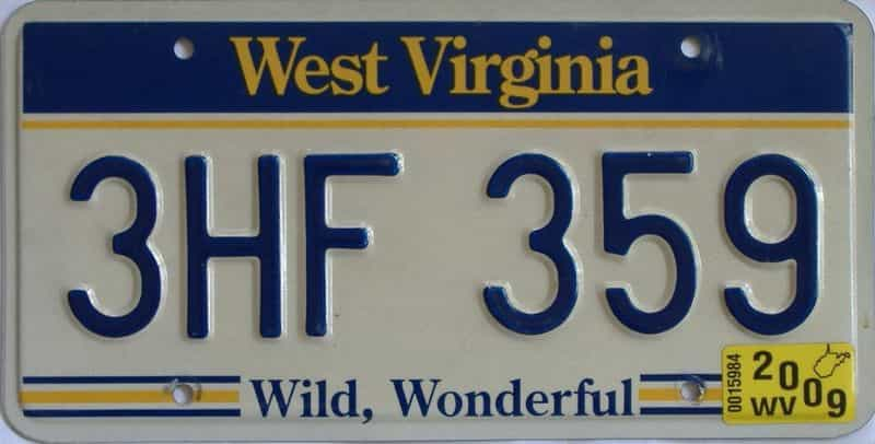 2009 West Virginia license plate for sale