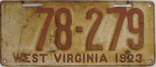1923 West Virginia (Single) license plate for sale