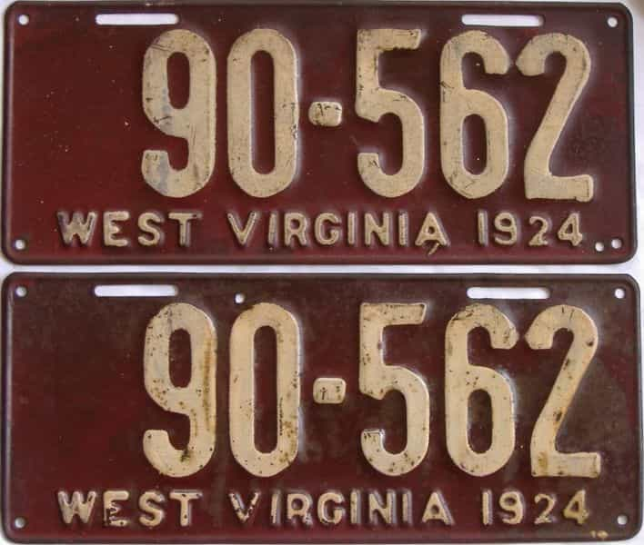 1924 West Virginia (Pair) license plate for sale