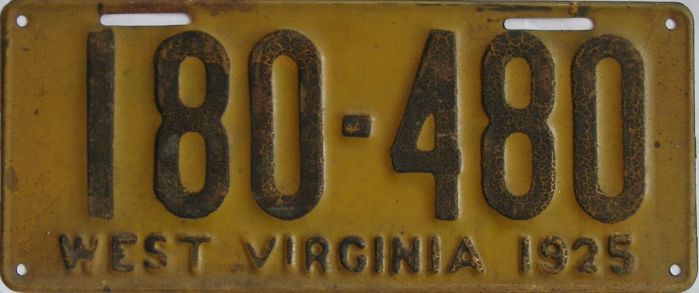 1925 West Virginia (Single) license plate for sale
