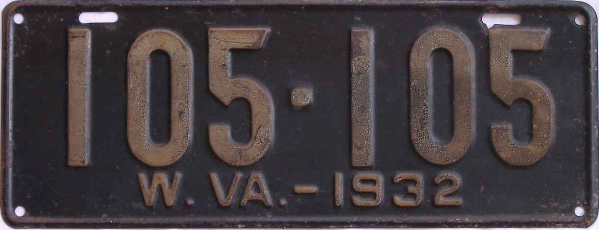 1932 West Virginia (Single) license plate for sale