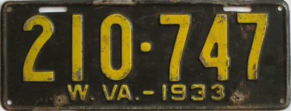 1933 West Virginia (Single) license plate for sale
