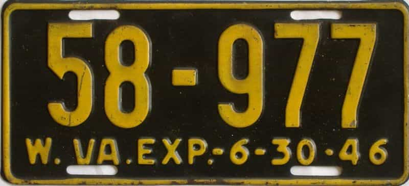 1946 West Virginia license plate for sale