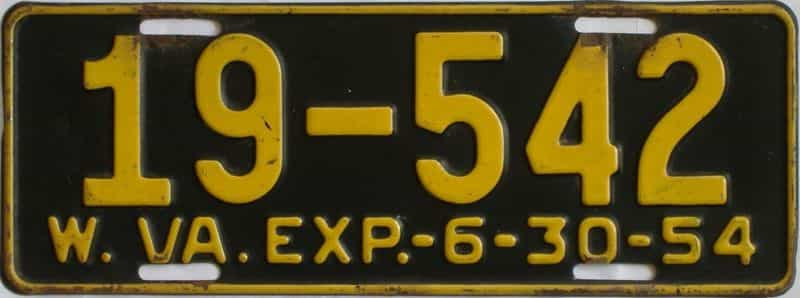 1954 West Virginia license plate for sale
