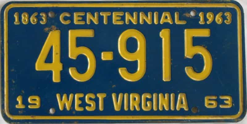 1963 West Virginia license plate for sale