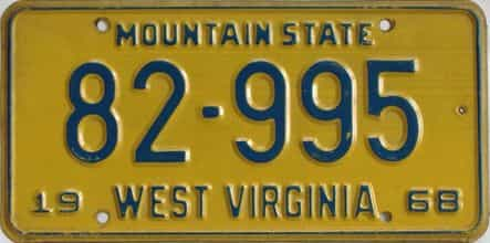 1968 West Virginia license plate for sale