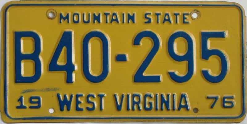 1976 West Virginia (Truck) license plate for sale