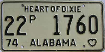 1974 Alabama (Truck) license plate for sale