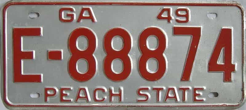 YOM 1949 GA license plate for sale