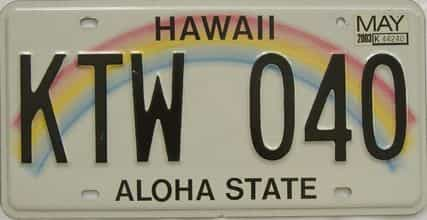 2003 Hawaii (Natural Single) license plate for sale